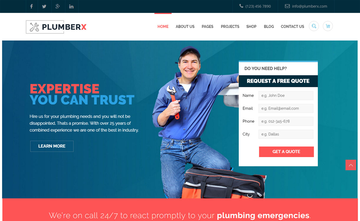 Plumber - Best Premium WordPress Construction Company Themes 2018
