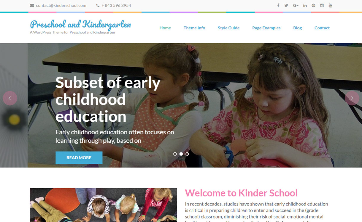 Preschool and Kindergarten - best free education WordPress themes 2018