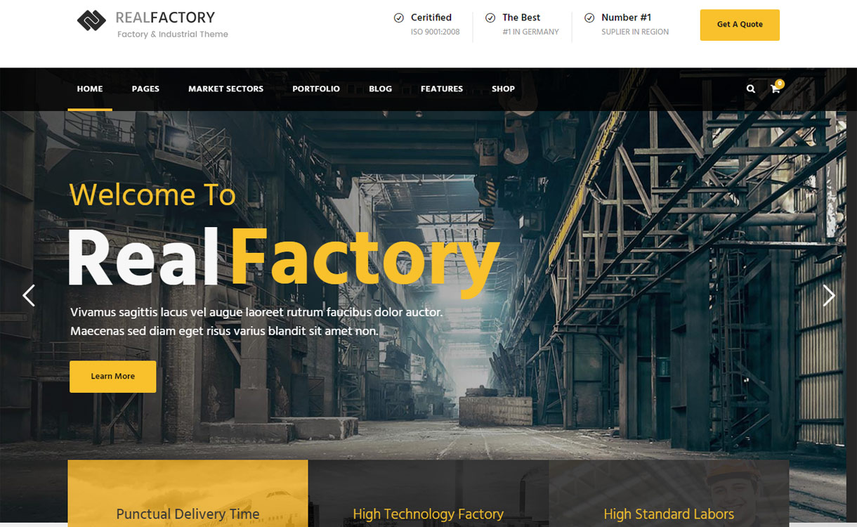 Realfactory - Best Premium WordPress Construction Company Themes 2018
