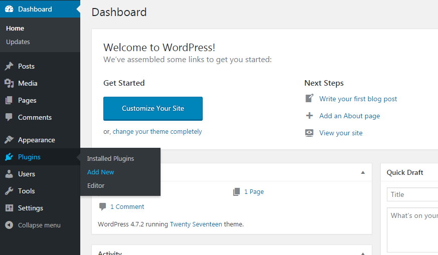 w1step1 - How to install a new plugin in WordPress website?