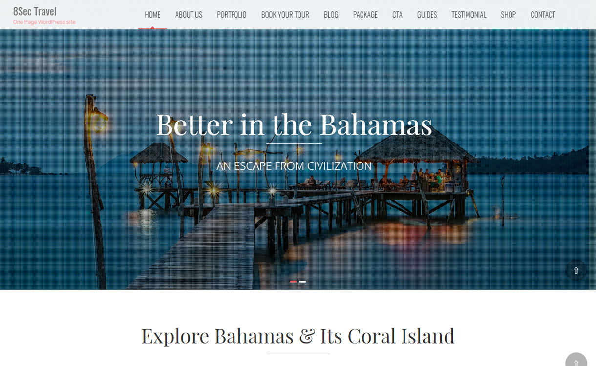 8Sec Travel - Premium One Page WordPress Theme