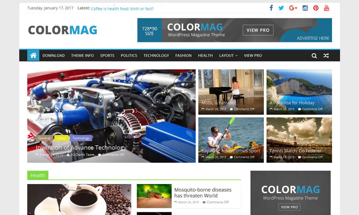 ColorMag–Responsive Magazine WordPress Theme - 25+ Best Free WordPress News-Magazine/Online Editorial Themes for 2019