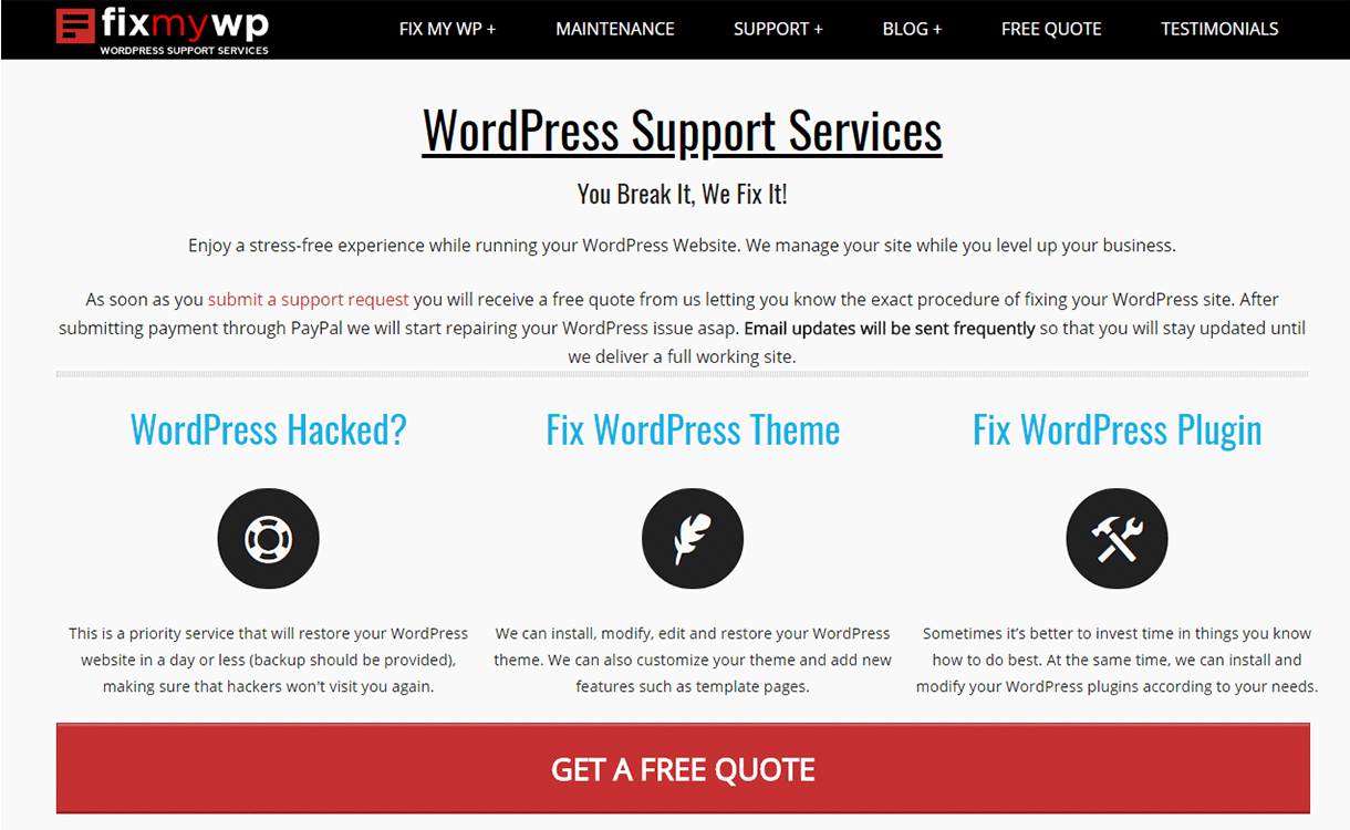 FixmyWP-Support-Theme