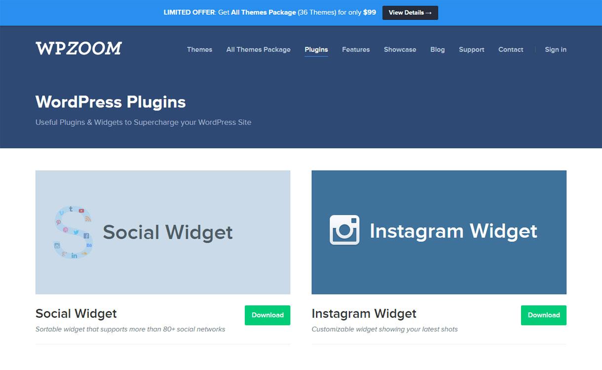 WPZoom - WordPress plugin store