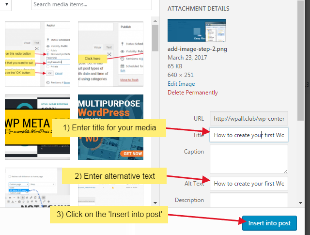 add image step 3 - How to create your first WordPress post?
