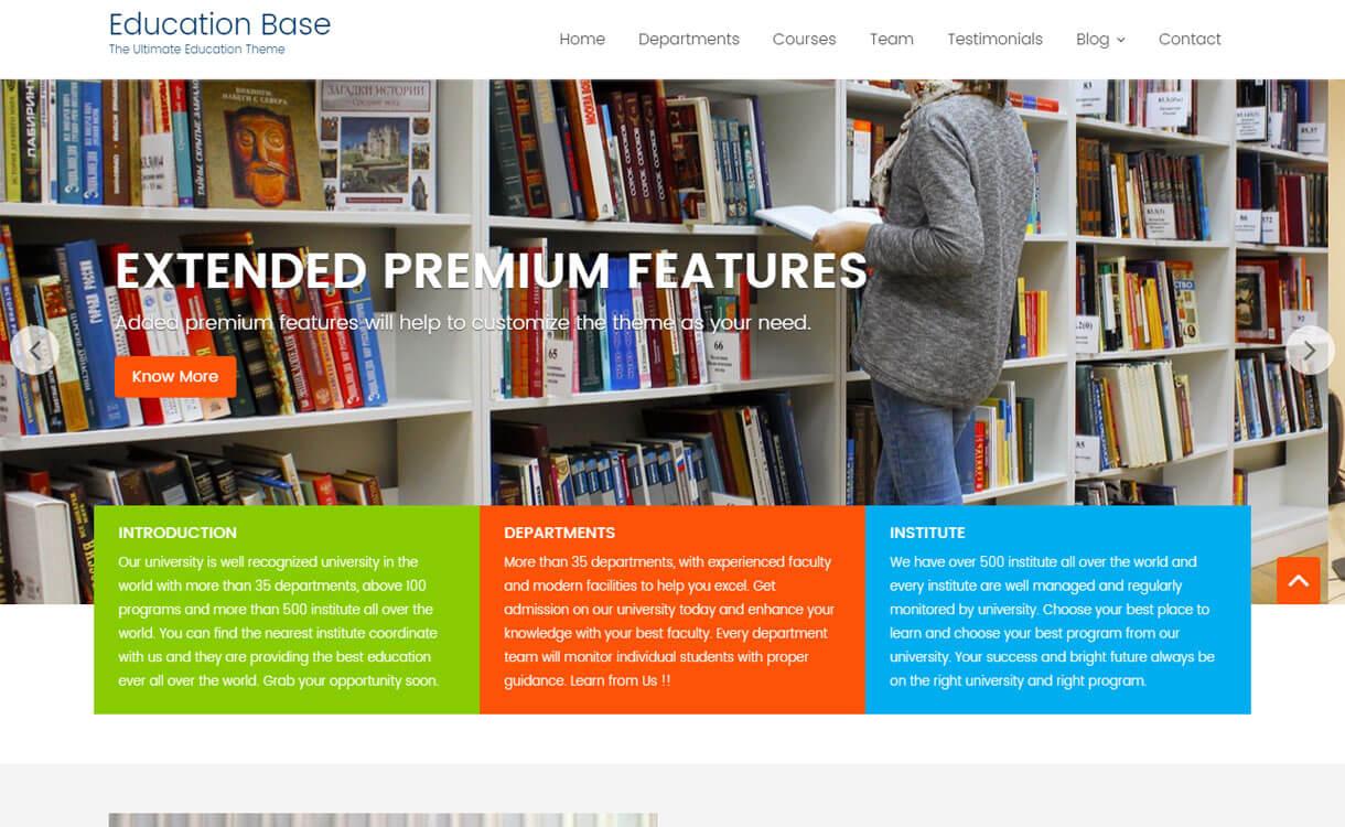education base free educational wordpress theme - 30+ Best Free Education WordPress Themes 2019