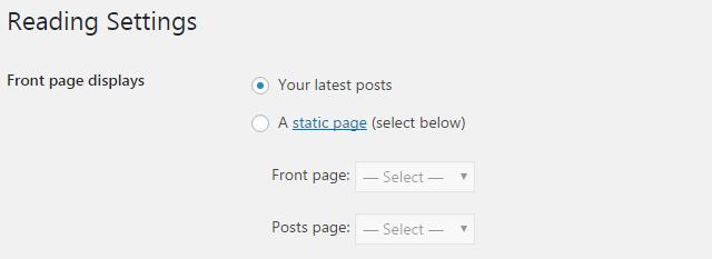 Reading settings in WordPress website