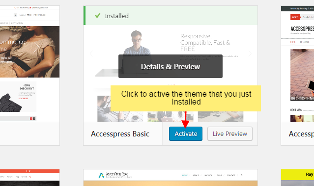 step 5 - How to install new WordPress Theme in your website