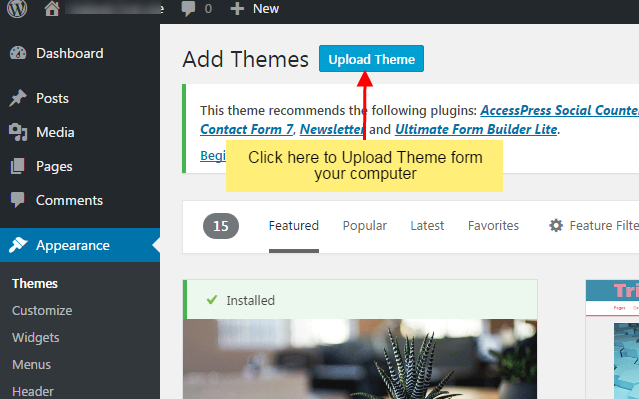 w2step3 - How to install new WordPress Theme in your website
