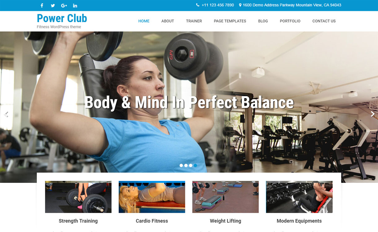 Powerclub Lite – Free Fitness WordPress Theme