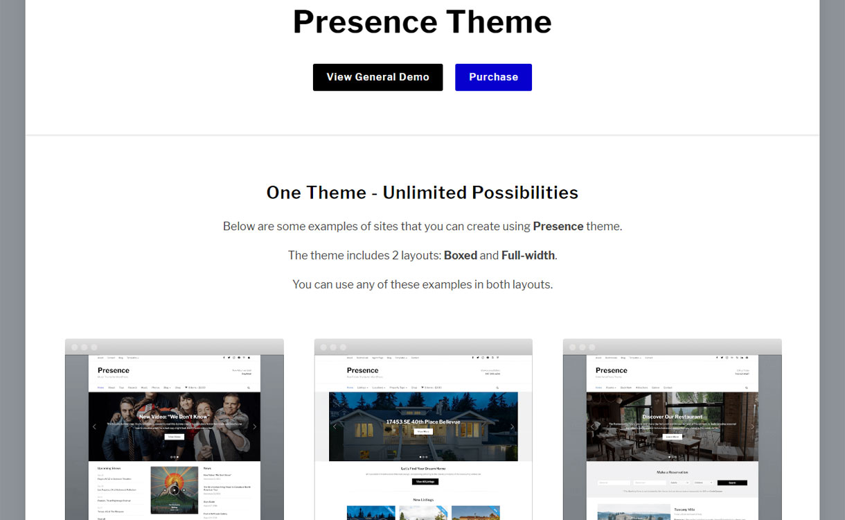 Presence - Flexible and Powerful WordPress Theme