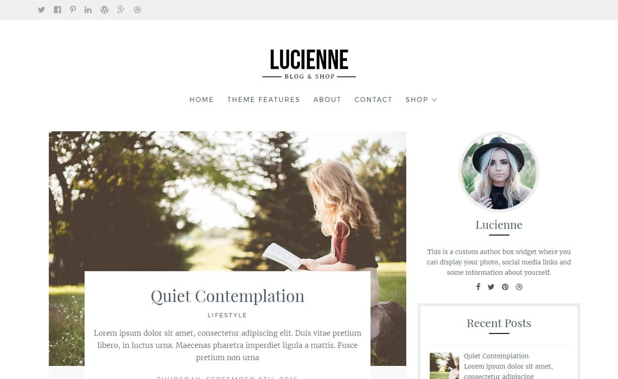 Lucienne - Stylish WordPress Blog Theme