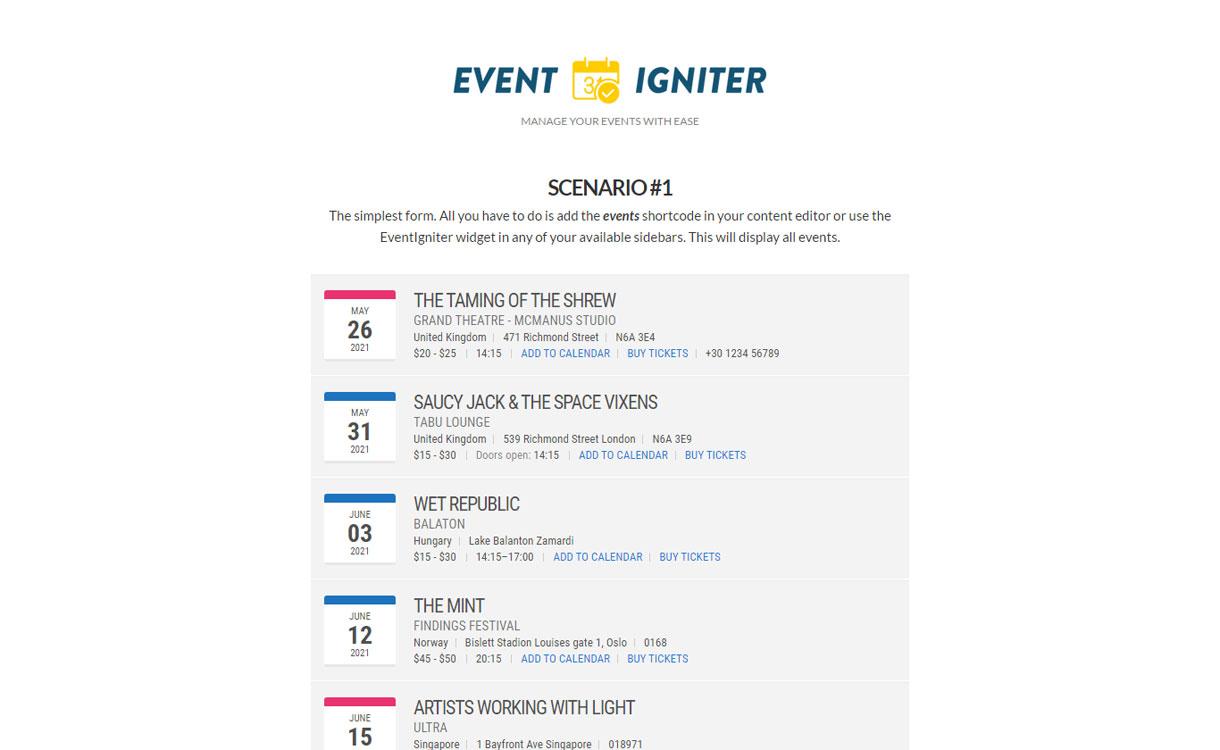 EventIgniter - Powerful Event Manager Plugin