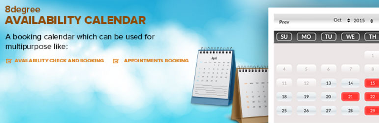 8degree Availability Calender - Free WP Booking Calendar Plugin