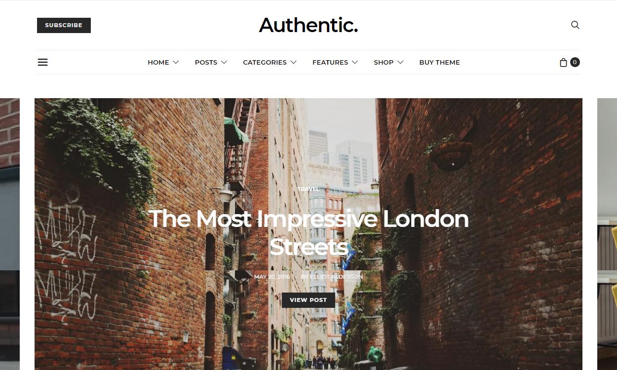 Authentic - Best Premium WordPress Blog Themes