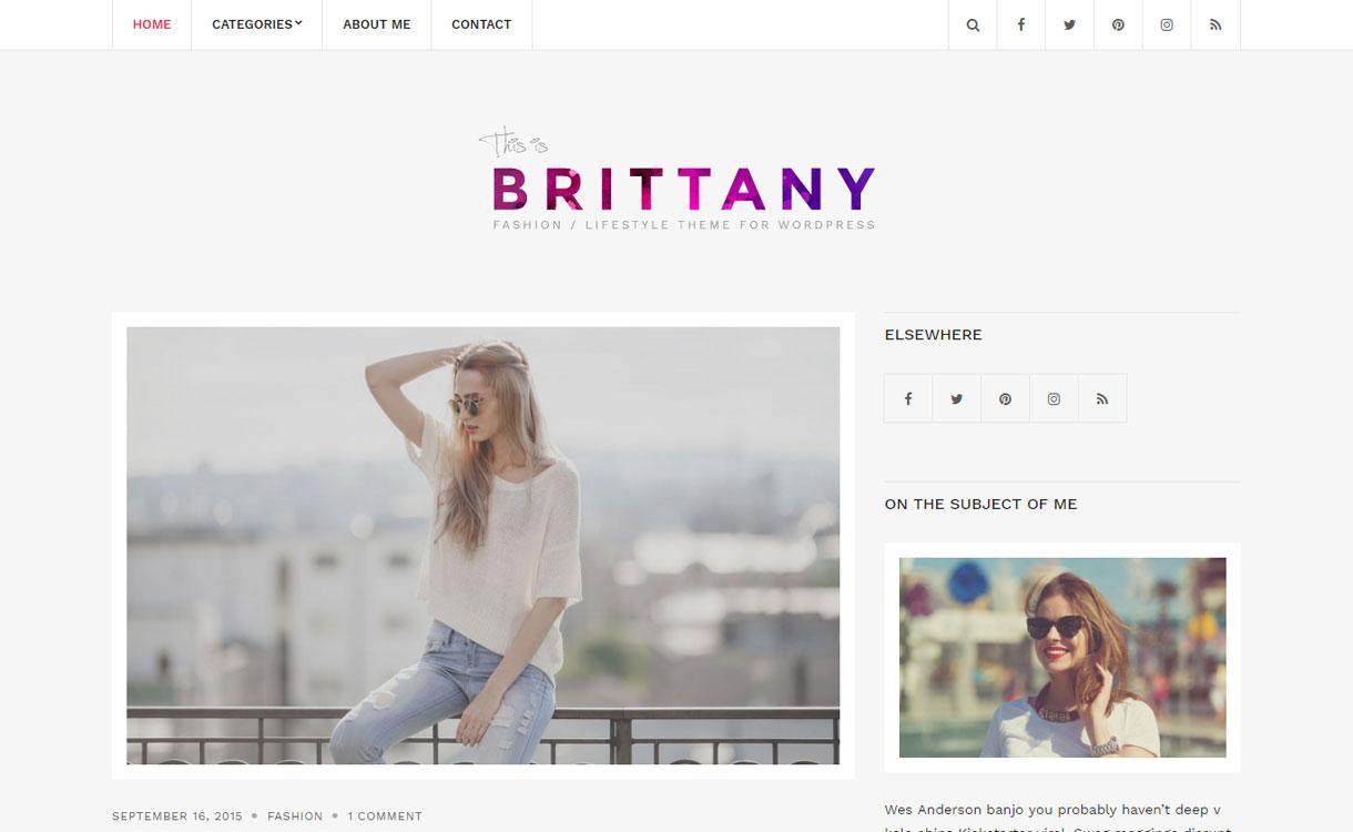 Brittany Light - Free WordPress Blogging Theme