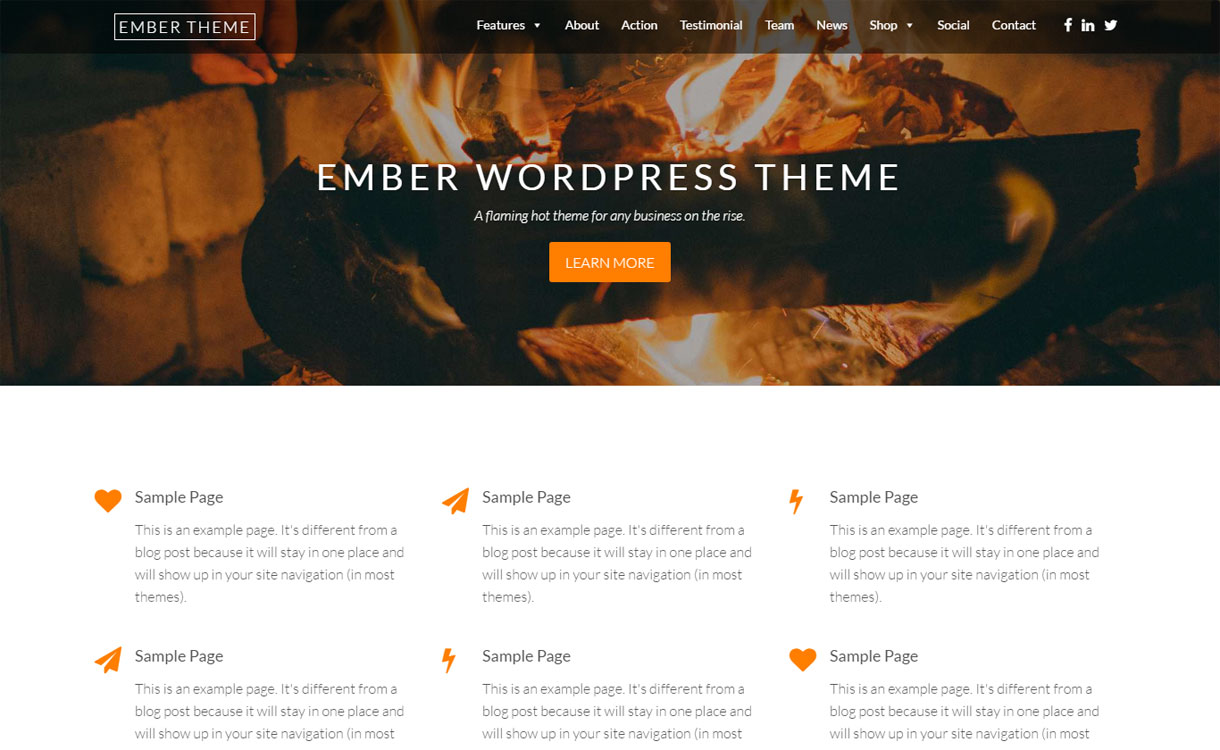 Ember Lite - Beautiful OnePage WordPress Theme