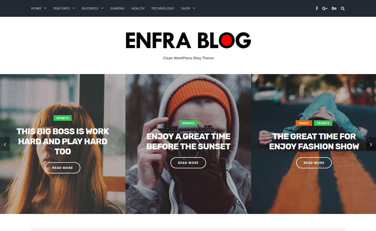 enfra blog premium wordpress blog theme - 30+ Best Premium WordPress Blog Themes 2019
