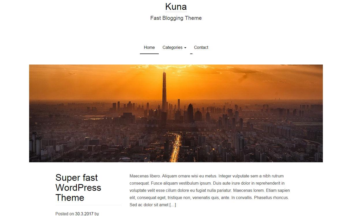 Kuna - Free WordPress Blogging Theme