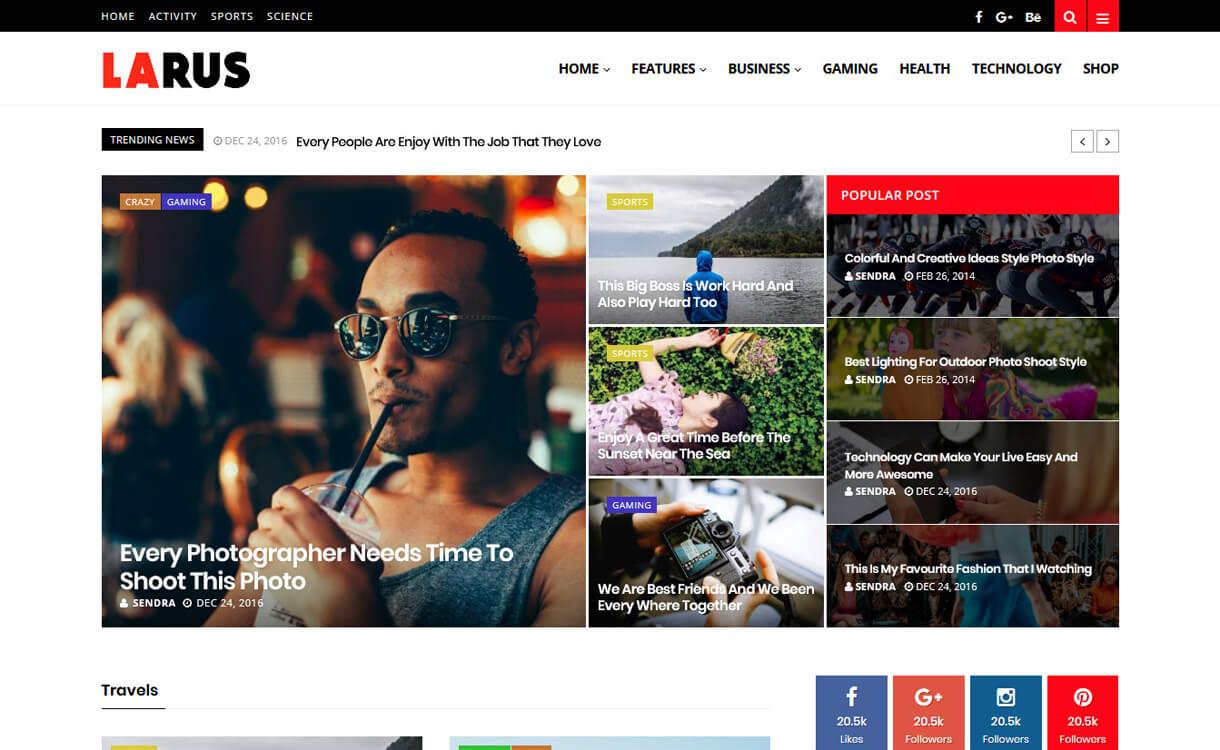 larus premium wordpress blog theme - 30+ Best Premium WordPress Blog Themes 2019