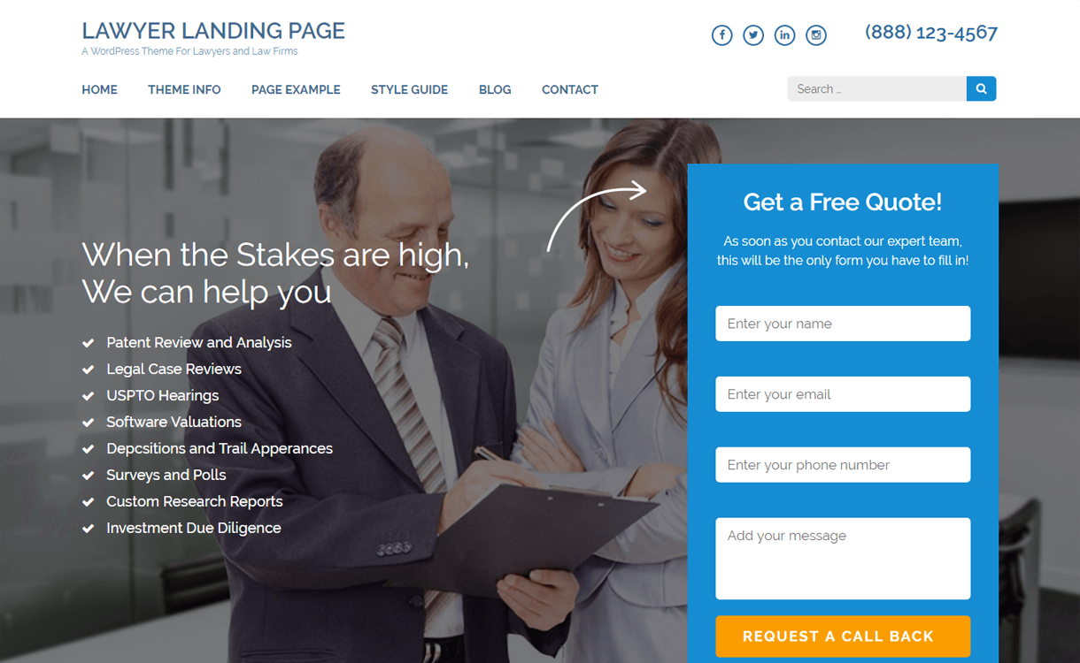 lawyer landing page free wordpress landing page theme - 30+ Best Free WordPress Landing Page Themes and Templates 2019