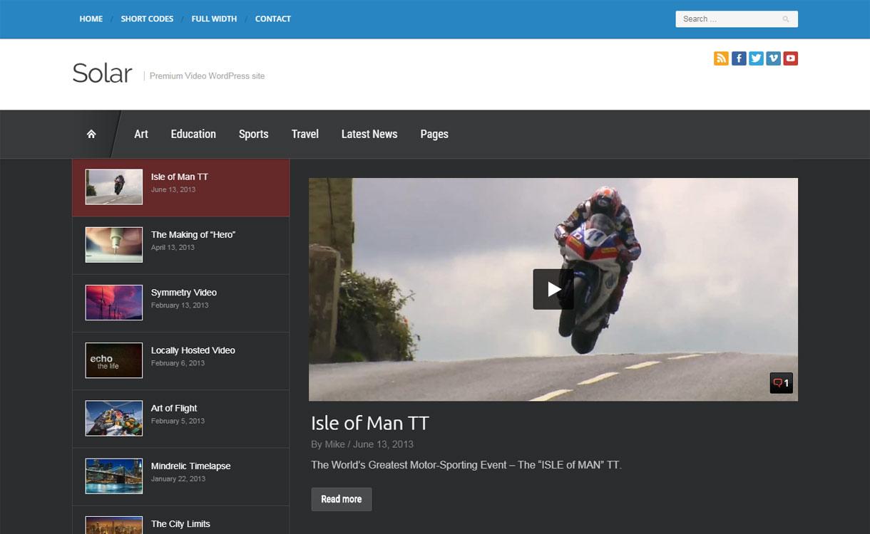 Solar - Best Video WordPress Theme