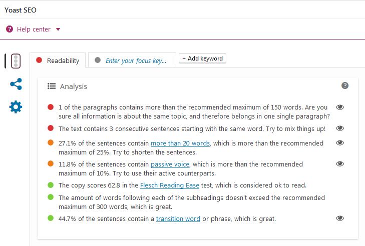 yoast seo feature readability analysis - Yoast SEO – For Creating An SEO Friendly Blog Post
