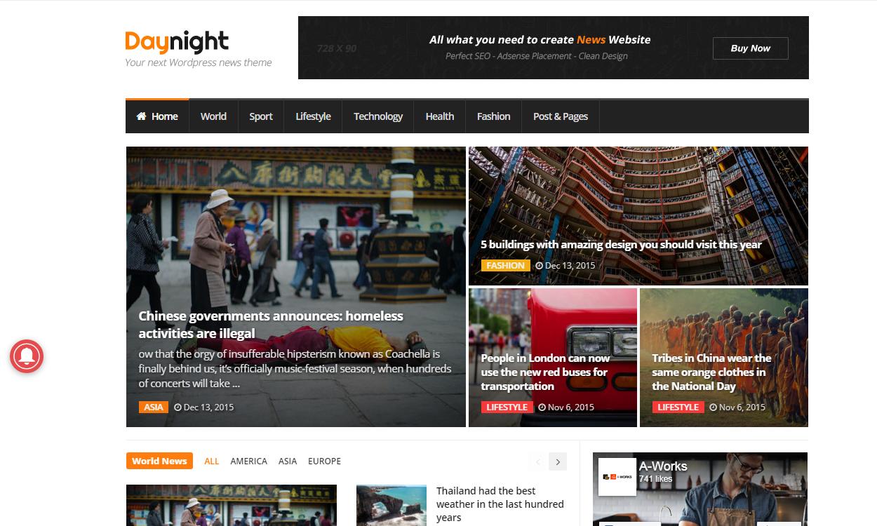 daynight - 21+ Best Premium WordPress News/Magazine/Editorial Themes 2019