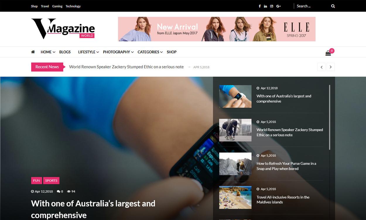 vmagazine premium blog and magazine wordpress themes - 35+ Best Premium WordPress Themes and Templates 2020[UPDATED]