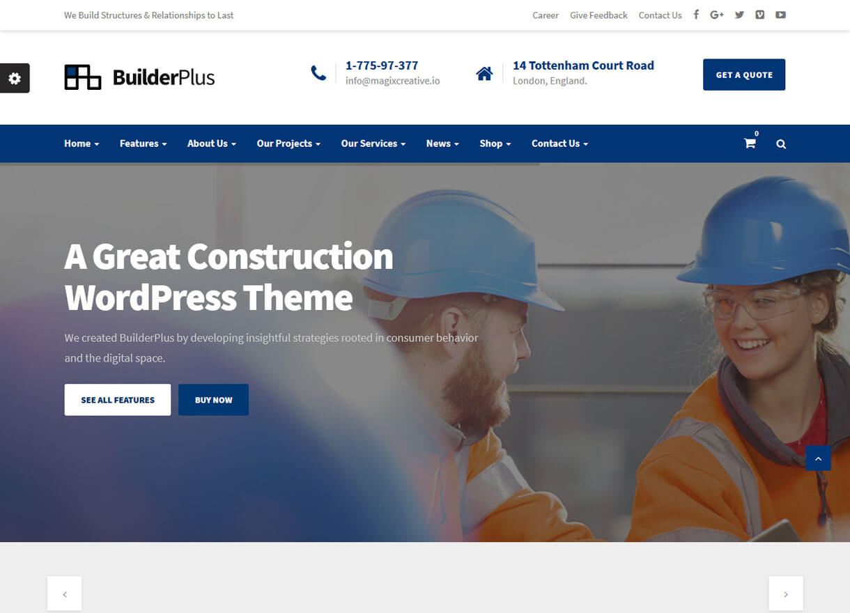 builderplus best premium wordpress construction company 2018 - 30+ Best Premium WordPress Construction Company Themes 2019