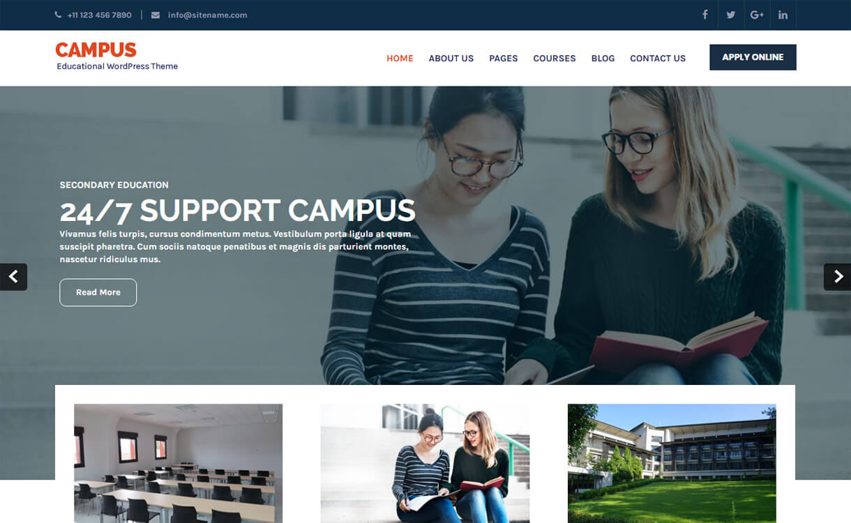 campus lite free education wordpress theme - 30+ Best Free Education WordPress Themes 2019