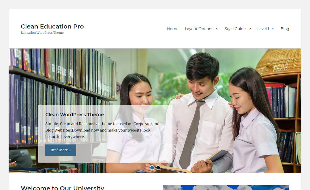 Clean Education-Best Free Education WordPress Themes 2018