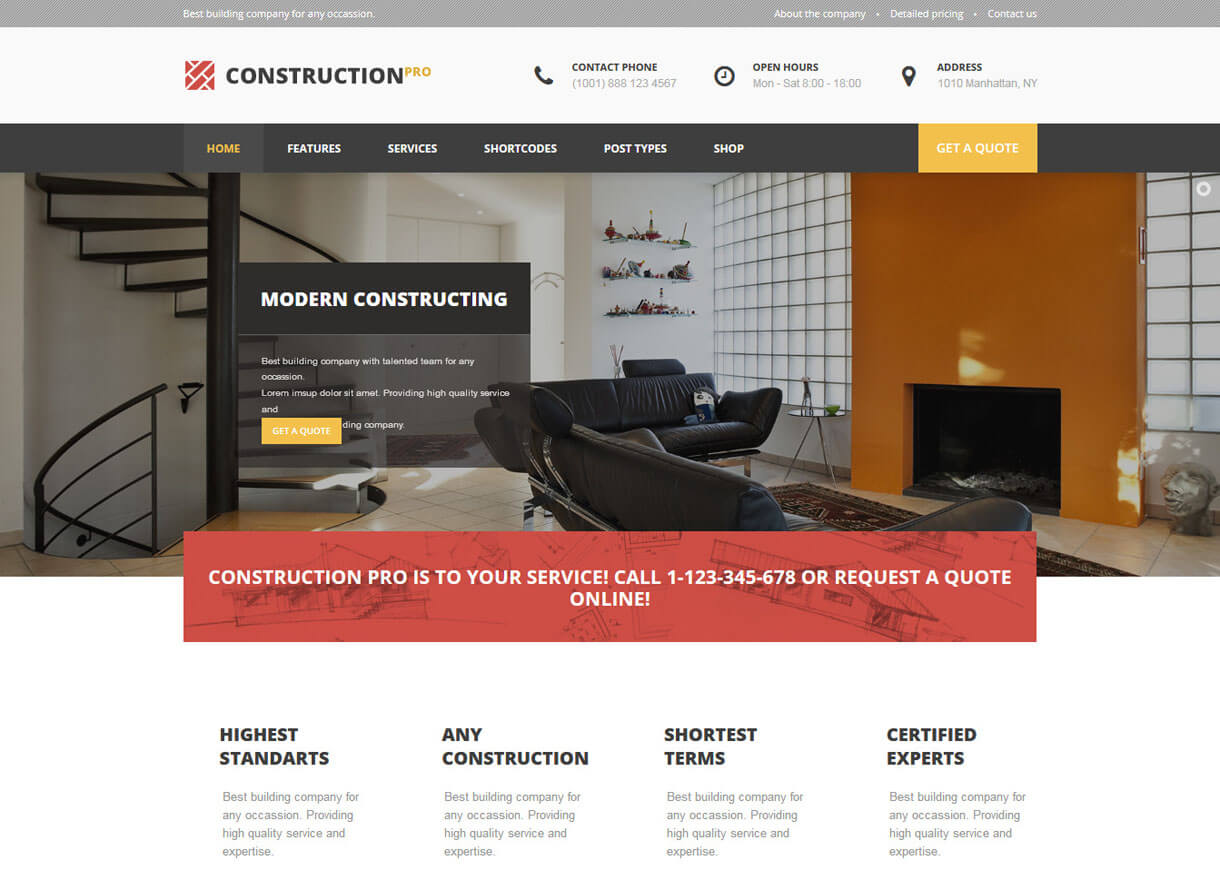 Construction Pro-Best Premium WordPress Construction Company Themes 2018