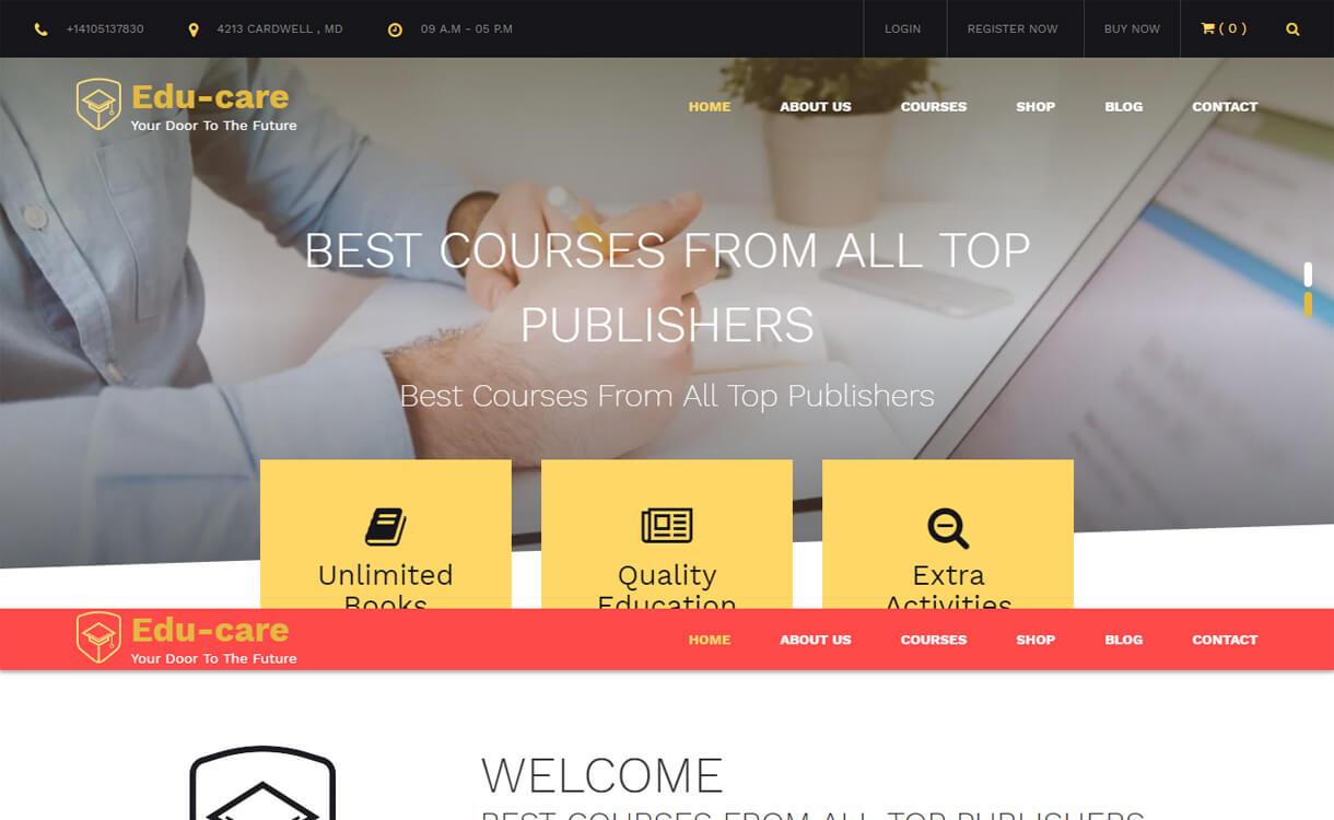edu care free education wordpress theme - 30+ Best Free Education WordPress Themes 2019