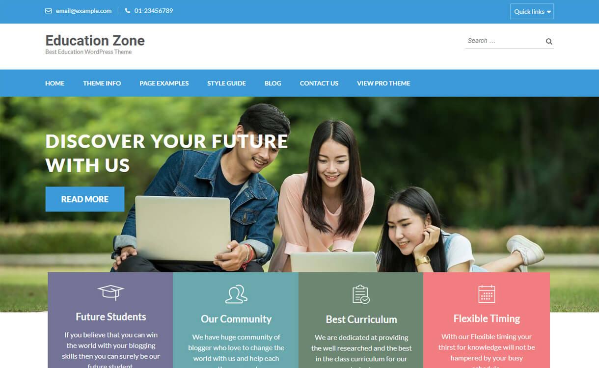 education zone free education wordpress theme - 30+ Best Free Education WordPress Themes 2019