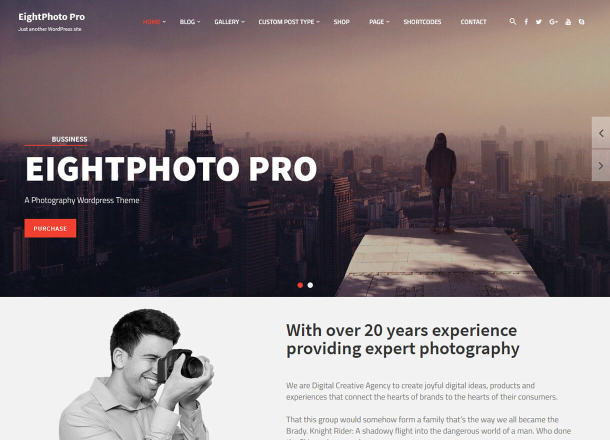 eightphoto pro premium wordpress photography themes - 30+ Best Premium WordPress Photography Themes 2019