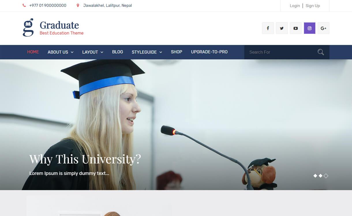 graduate free education wordpress theme - 30+ Best Free Education WordPress Themes 2019