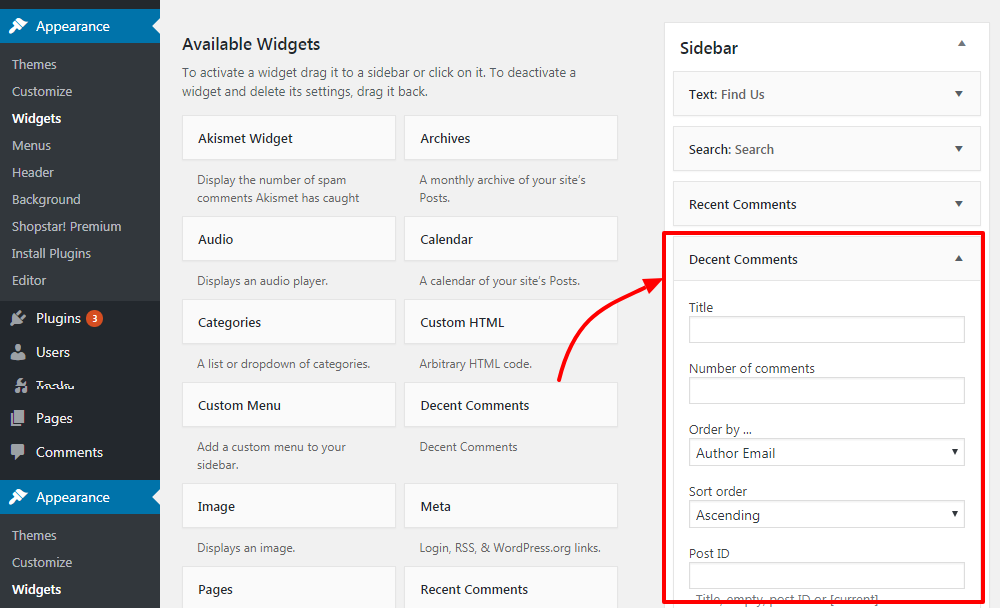 how to add recent comments in your wordpress sidebar 3 - How to show recent comments in WordPress Sidebar