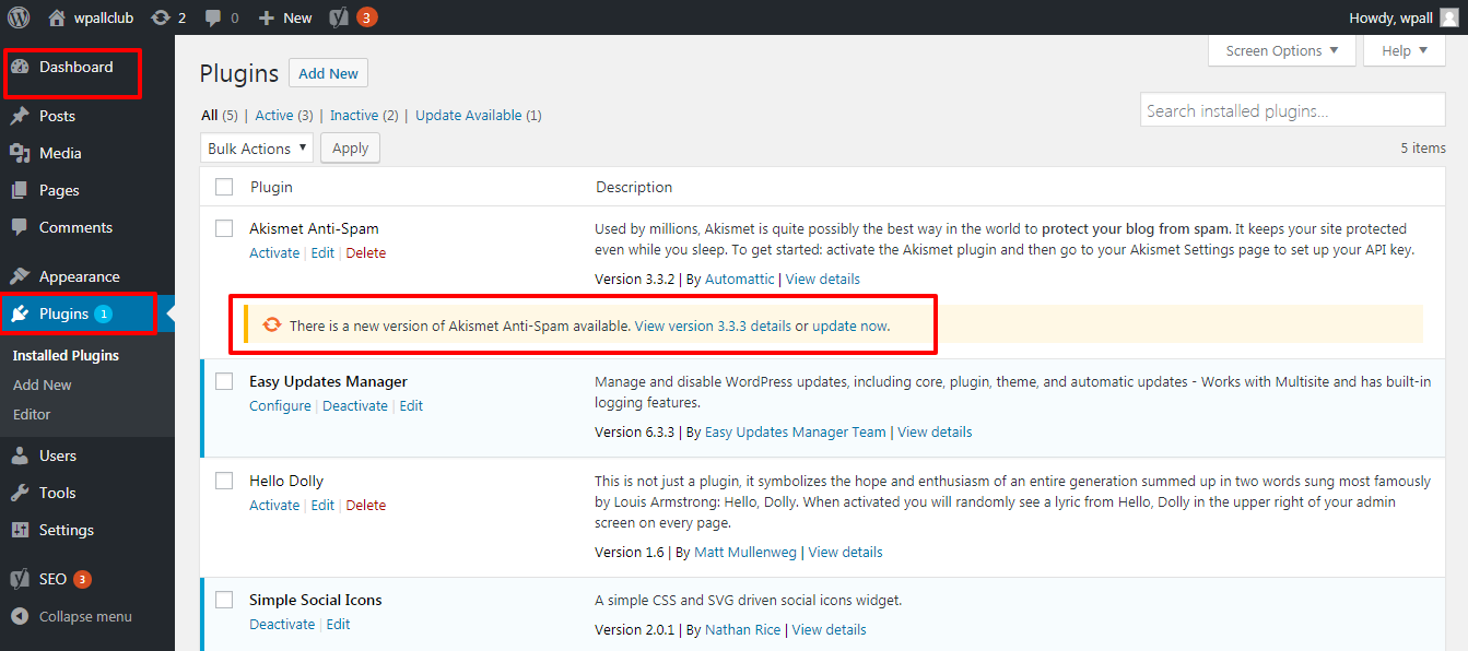how to step by step update plugins at WordPress