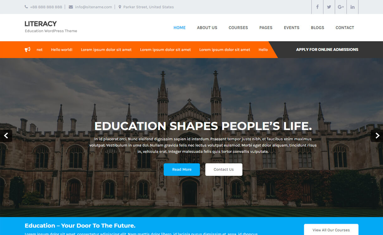literacy free education wordpress theme - 30+ Best Free Education WordPress Themes 2019