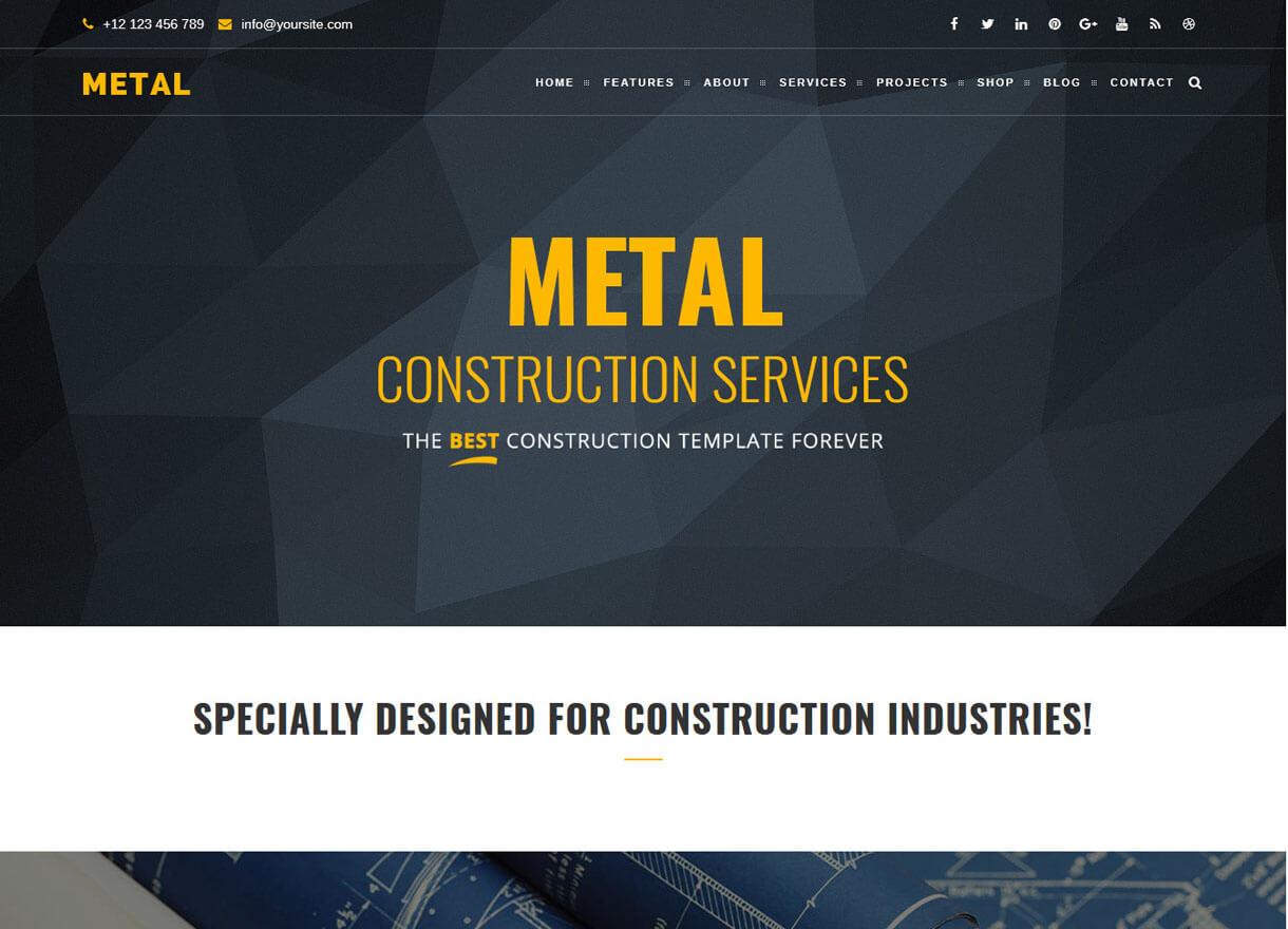 metal best premium wordpress construction themes 2018 - 30+ Best Premium WordPress Construction Company Themes 2019