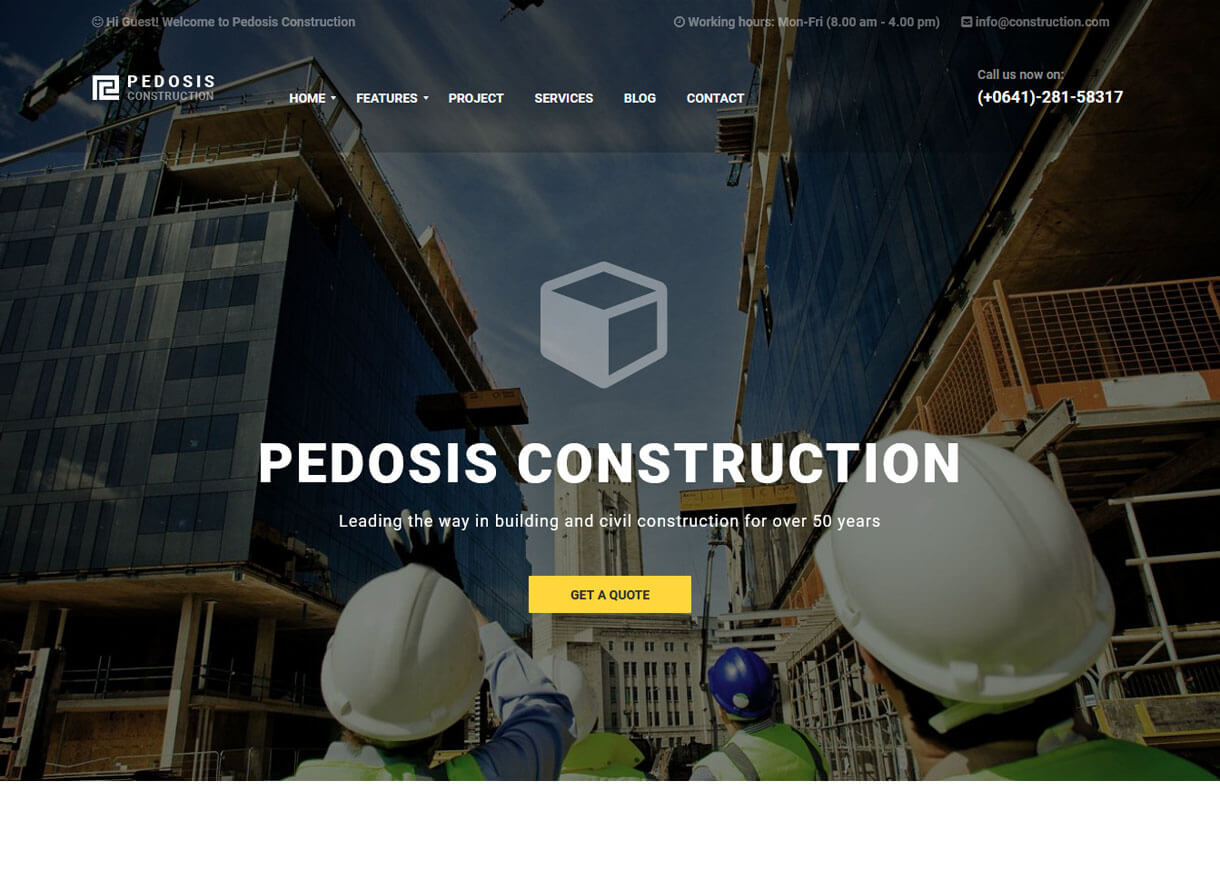pedosis best premium wordpress construction company themes 2018 - 30+ Best Premium WordPress Construction Company Themes 2019