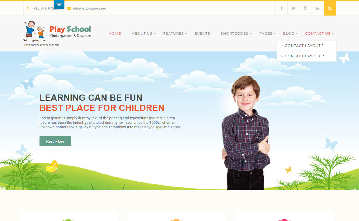 Play School Lite-Best Free Education WordPress Themes 2018