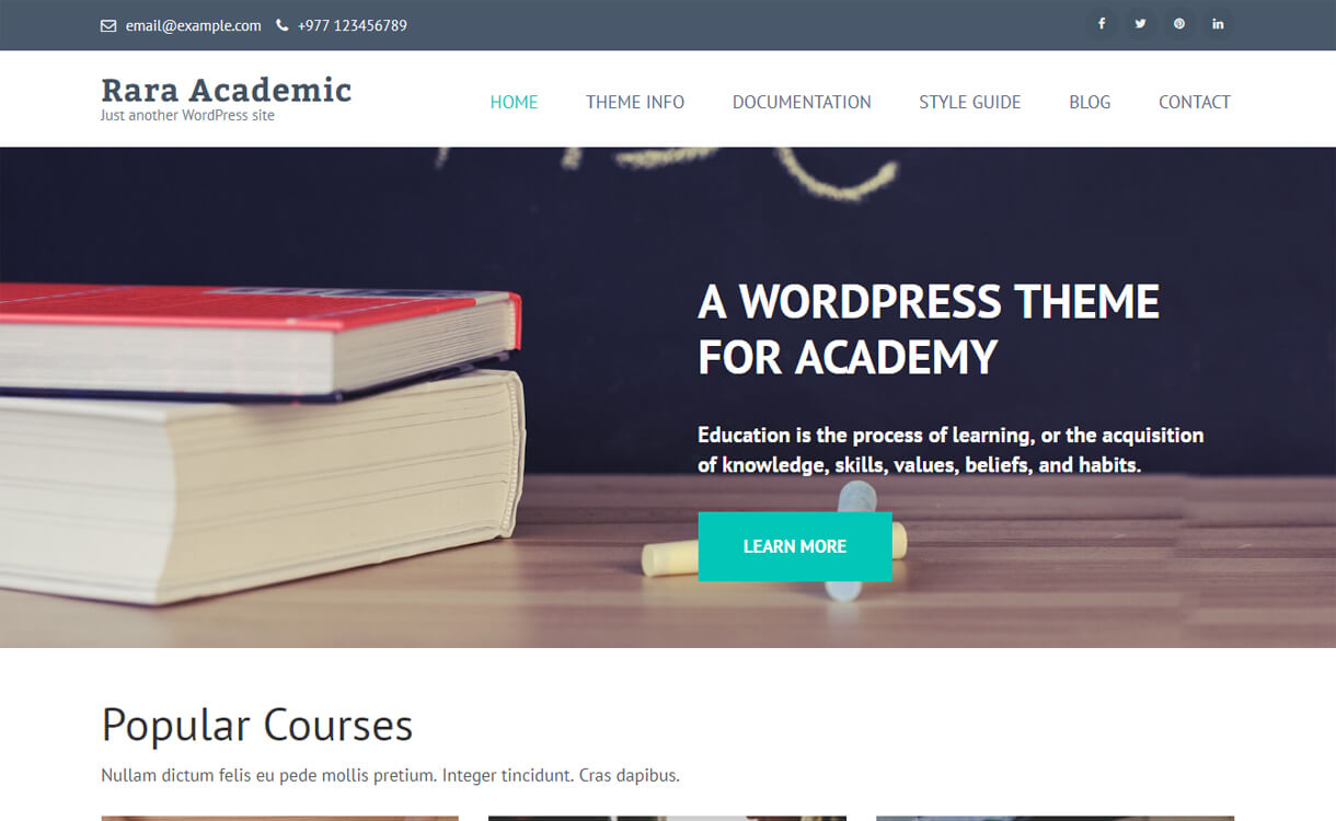 rara academic free education wordpress theme - 30+ Best Free Education WordPress Themes 2019