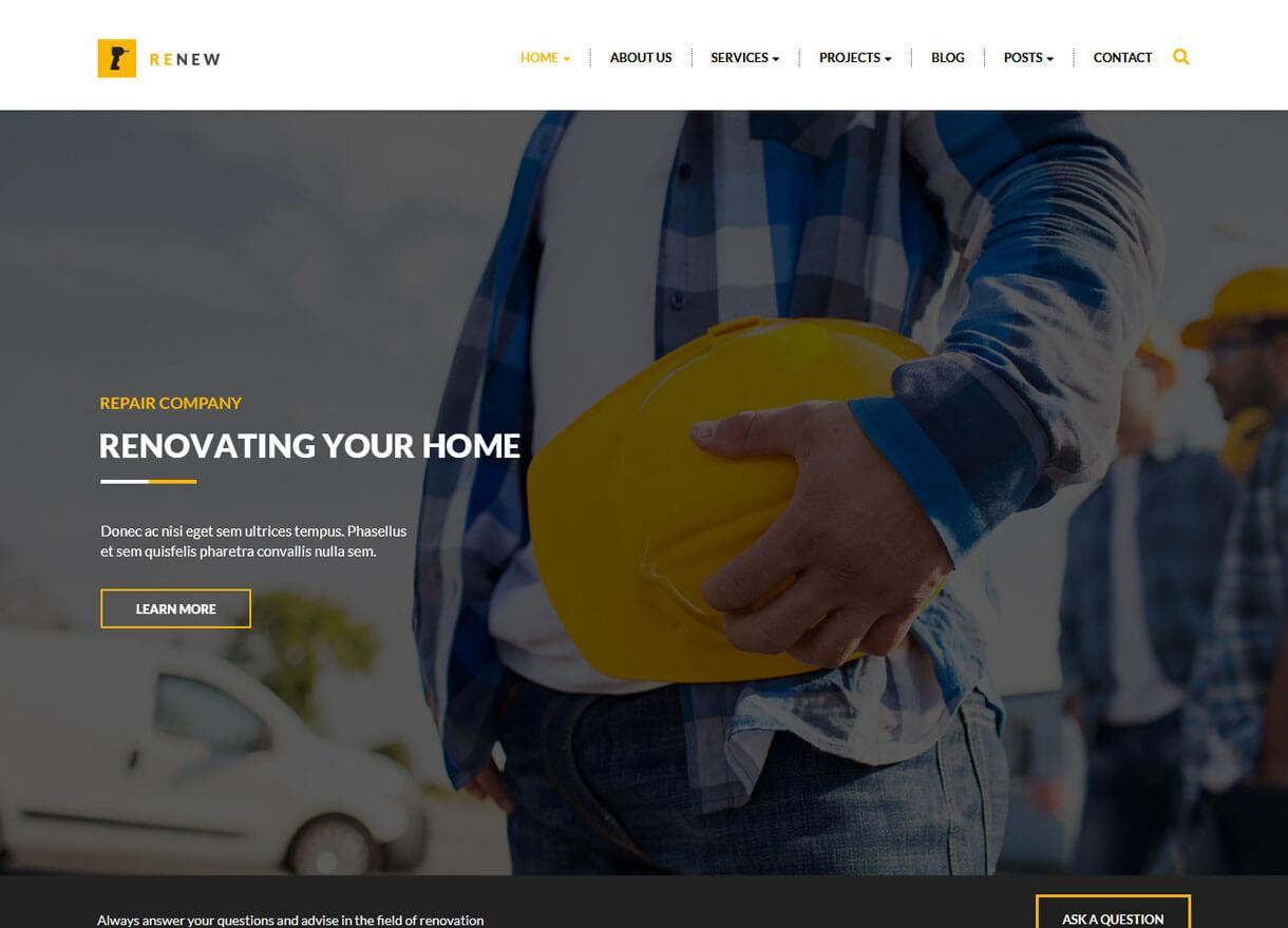 renew best premium wordpress construction company themes 2018 - 30+ Best Premium WordPress Construction Company Themes 2019