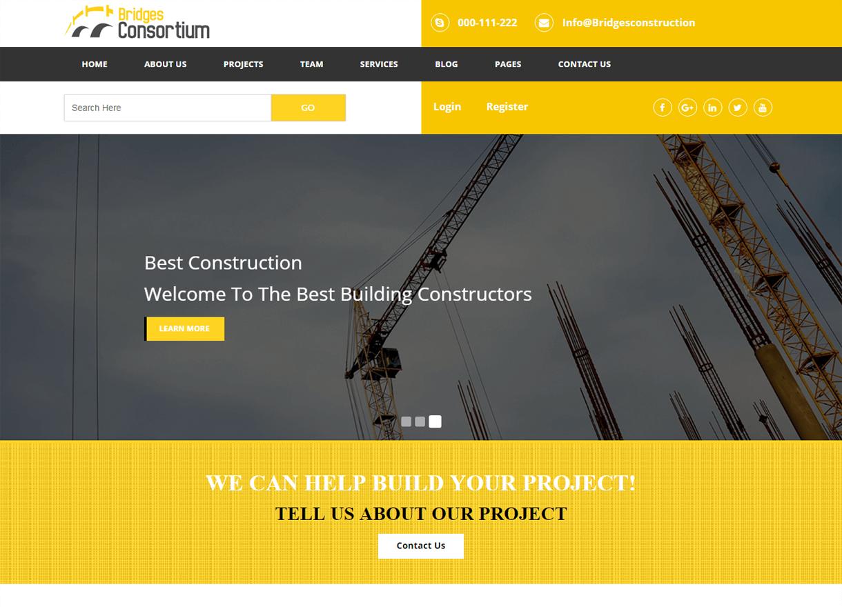 the bridges best premium wordpress construction company themes 2018 - 30+ Best Premium WordPress Construction Company Themes 2019