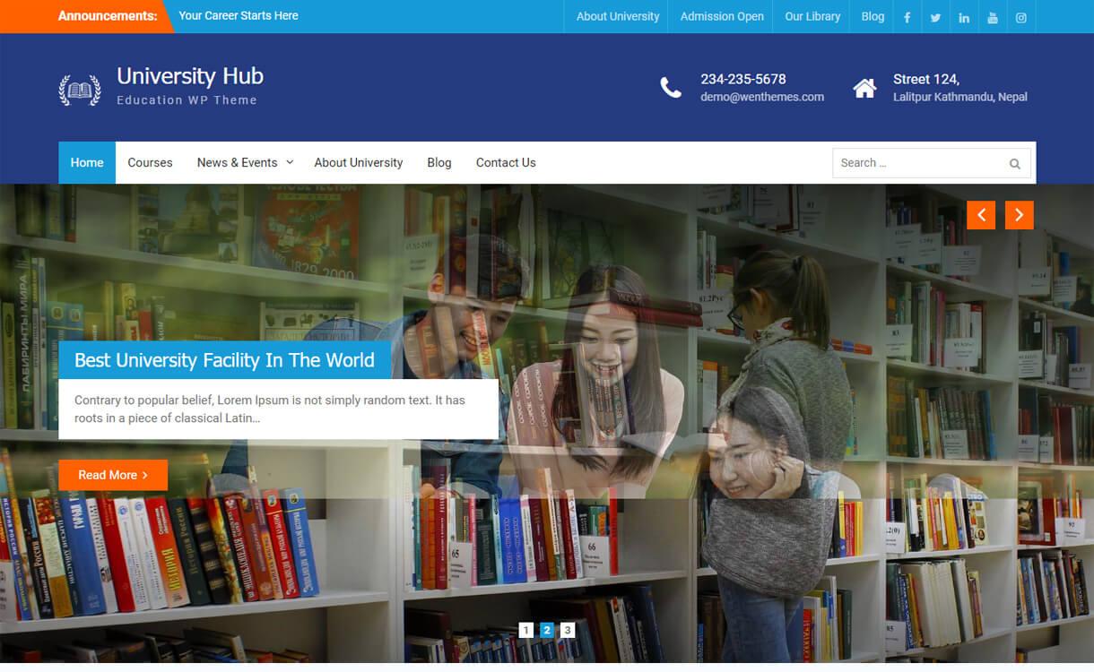 university hub free education wordpress theme - 30+ Best Free Education WordPress Themes 2019