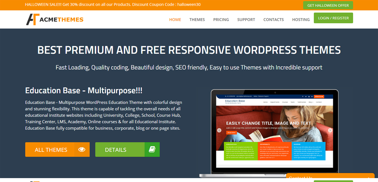 acme themes halloween offer - 30+ Best Free WordPress Blog Themes for 2020