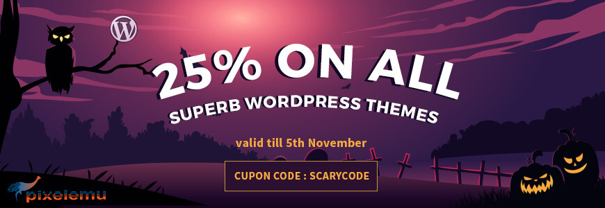 pixelemu halloween wordpress deals - WordPress Deals and Discounts for Halloween 2017