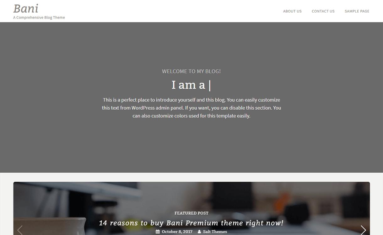 bani free wordpress theme - 21+ Best Free WordPress Themes November 2017